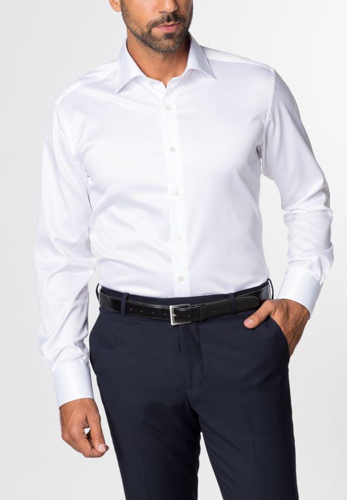 Camicia Eterna Classic No Stiro Bianco Tinta unita 100% cotone collo Italiano Manica lunga