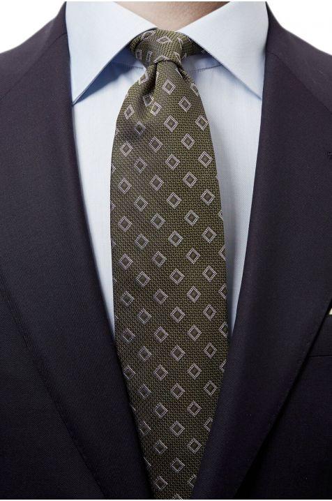 Cravatta Eton  colore Verde 40% seta 60% cotone fantasia