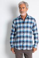 Camicia Xacus Regular Quadri 100% lino collo Francese Manica lunga
