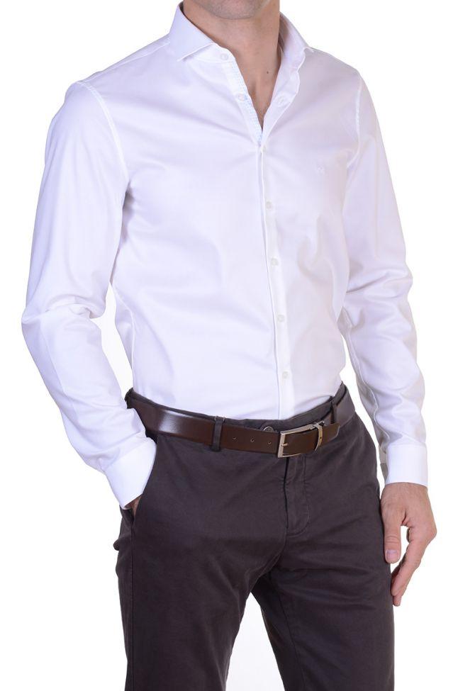 Camicia Calvin Klein Slim Bianco Tinta unita  collo Francese Manica lunga