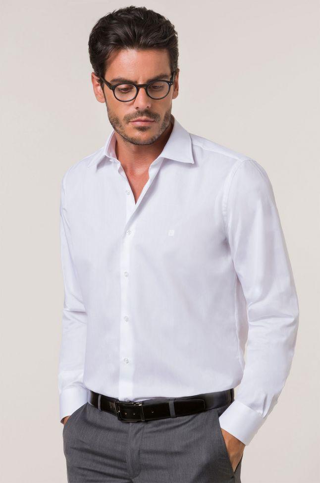 Camicia Balestra Classic Bianco Tinta unita 100% cotone collo Italiano Manica lunga