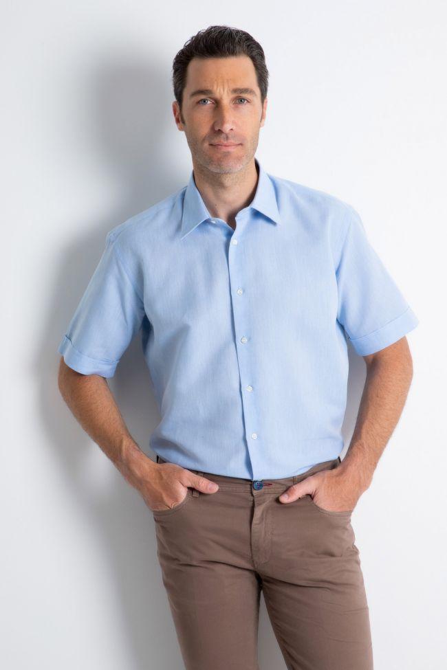 Camicia Nologo Classic Azzurro Tinta unita 56% lino 44% cotone collo Italiano Manica corta